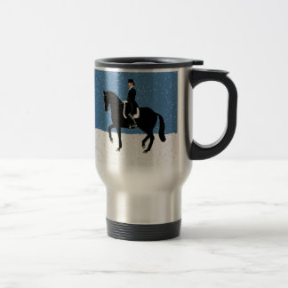 Snowy Dressage Horse Christmas Travel Mug