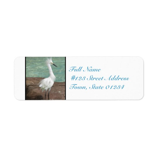 Snowy Egret Bird Return Address Label