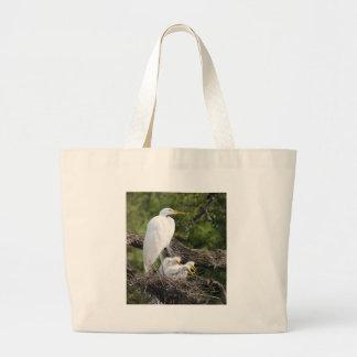Snowy Egret Family Jumbo Tote Bag