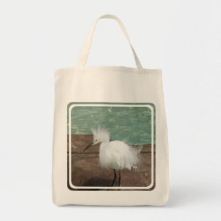 Snowy Egret Grocery Tote Bag