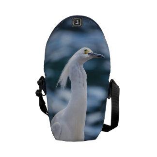 Snowy Egret Messenger Bags
