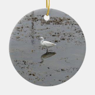 Snowy Egret Round Ceramic Decoration