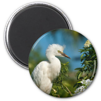 Snowy Egret with Flowers Magnet