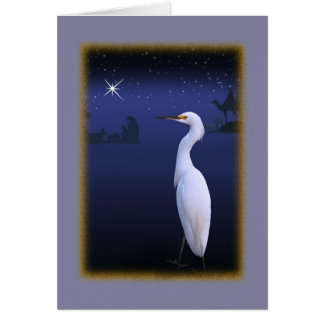Snowy Egret with Nativity Christmas Card