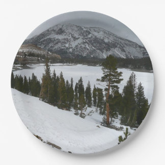 Snowy Ellery Lake California Winter Photography 9 Inch Paper Plate