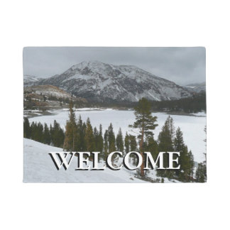 Snowy Ellery Lake California Winter Photography Doormat