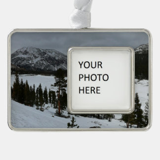 Snowy Ellery Lake California Winter Photography Silver Plated Framed Ornament
