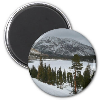 Snowy Ellery Lake I California Winter Photography 6 Cm Round Magnet