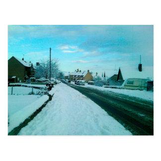 Snowy English Village Postcard