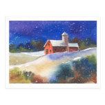 Snowy Evening Barns Postcard