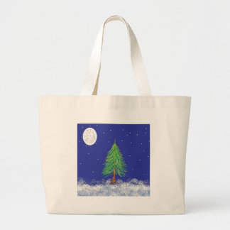 Snowy Evergreen with Full Moon Tote Bag