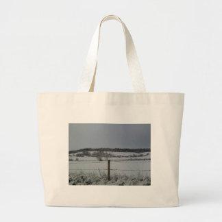 Snowy Field Tote Bags