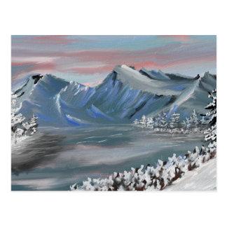 snowy field postcard