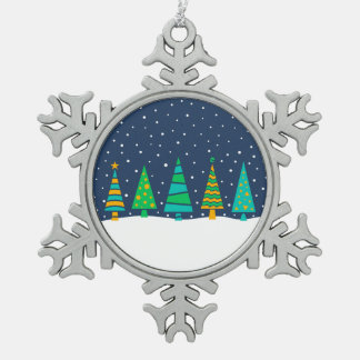 Snowy Fir Trees Snowflake Ornament