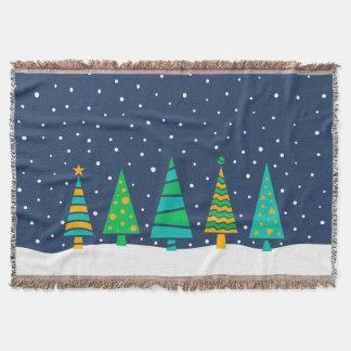 Snowy Fir Trees Throw Blanket