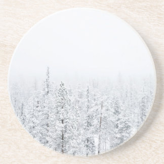 Snowy forest beverage coasters