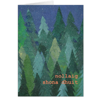 Snowy Forest Christmas Card: Irish Gaelic Card