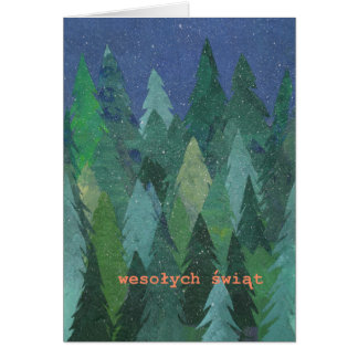 Snowy Forest Christmas Card: Polish Greeting Greeting Card