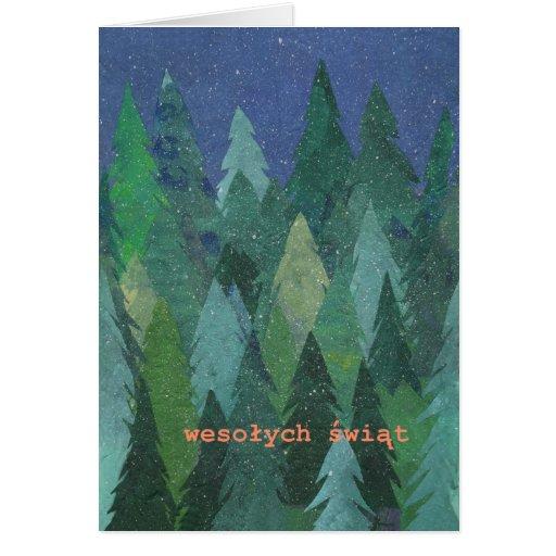 Snowy Forest Christmas Card: Polish Greeting