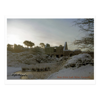 Snowy Great Lode Mines, Cornwall. Postcard