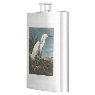 Snowy Heron White Egret Audubon Birds of America Hip Flask