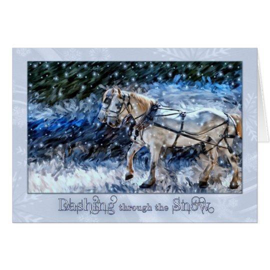 Snowy Horse Drawn Carriage Christmas Card