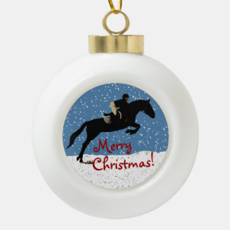 Snowy Horse Jumper's Christmas Ceramic Ball Decoration