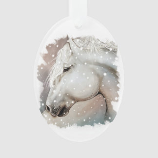 Snowy Horse Ornament