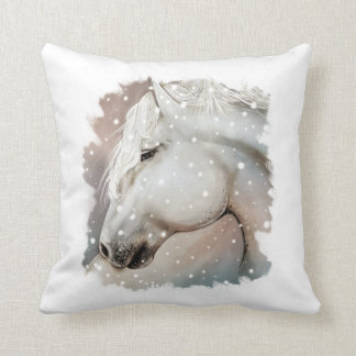 Snowy Horse Pillow