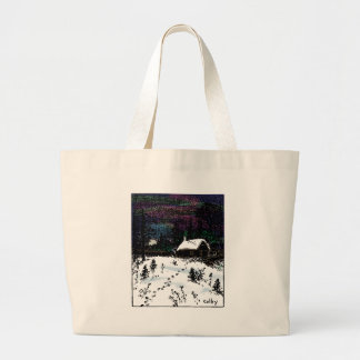 Snowy House Christmas Time Scene Large Tote Bag