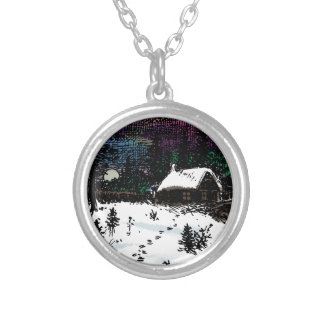 Snowy House Christmas Time Scene Round Pendant Necklace