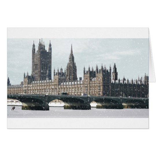 Snowy Houses of Parliament Card