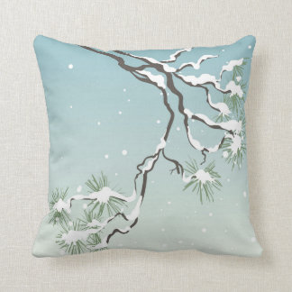 Snowy Japanese Pine Throw Pillow