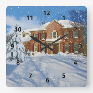 Snowy Landscape and Home Square Wall Clock