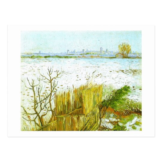 Snowy Landscape Arles Background Van Gogh Fine Art Postcard