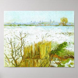 Snowy Landscape Arles Background Van Gogh Fine Art Poster