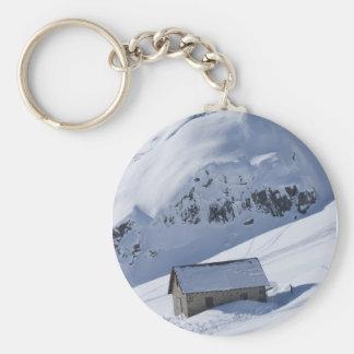snowy landscape basic round button key ring