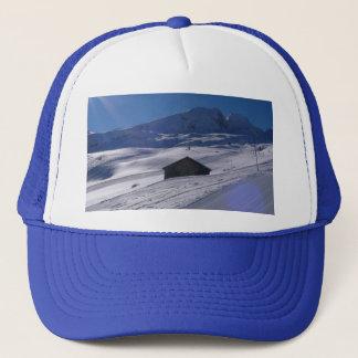 snowy landscape trucker hat