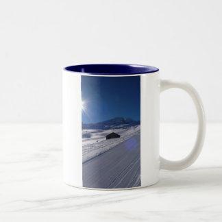 snowy landscape Two-Tone coffee mug