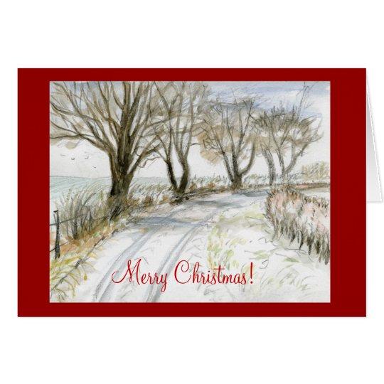 Snowy Lane Northumberland England Merry Christmas Card