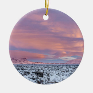 Snowy Lava field landscape, Iceland Christmas Ornament