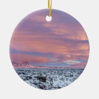 Snowy Lava field landscape, Iceland Round Ceramic Decoration