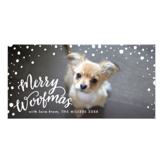Snowy Merry Woofmas Handlettered | Holiday Photo Card