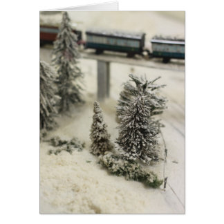 Snowy model railway scene card