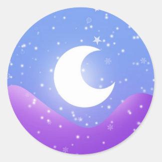 Snowy moon light classic round sticker