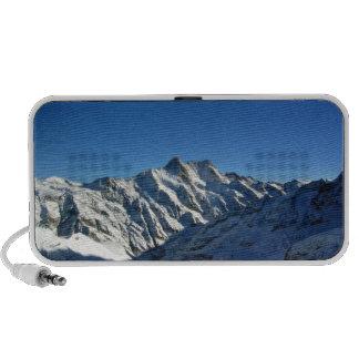 Snowy mountain against blue sky travelling speaker