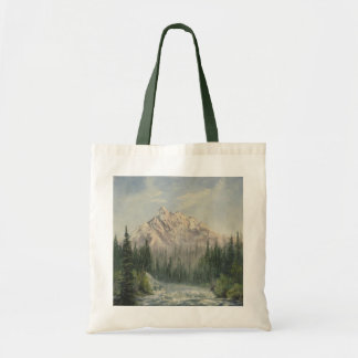 Snowy Mountain Landscape Canvas Tote Bag