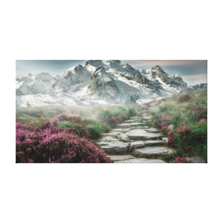 Snowy mountain path landscape canvas