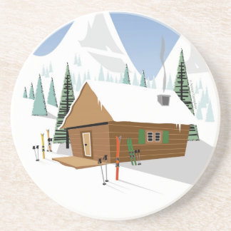 Snowy Mountain Ski Hut Drink Coaster