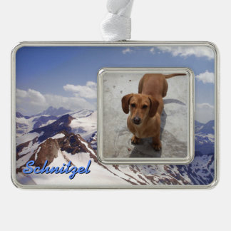 Snowy Mountains and Pet Photo Christmas Ornament Silver Plated Framed Ornament